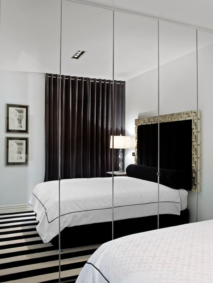 floor to ceiling mirror carpet bed lamp ceiling light contemporary bedroom