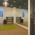 floor to ceiling mirror carpets window ceiling lights door cool lamp mediterranean home gym yoga room