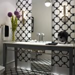 Floor To Ceiling Mirror Cool Floor Wall Patterns Flowers Towel Rack Modern Lamps Contemporary Bathroom