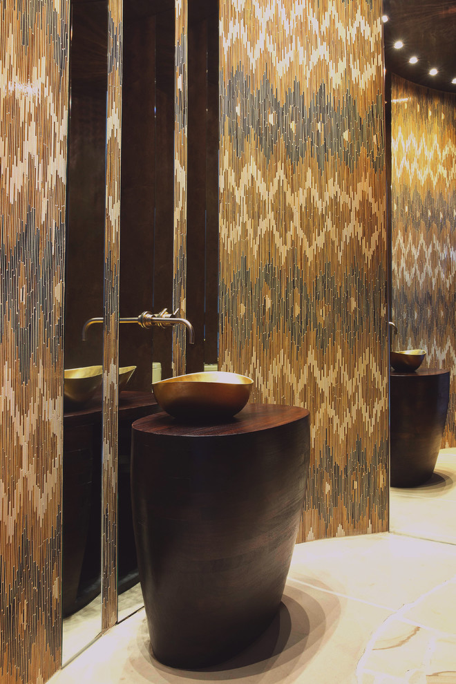 floor to ceiling mirror cool walls wash basin faucet contemporary powder room ceiling lights