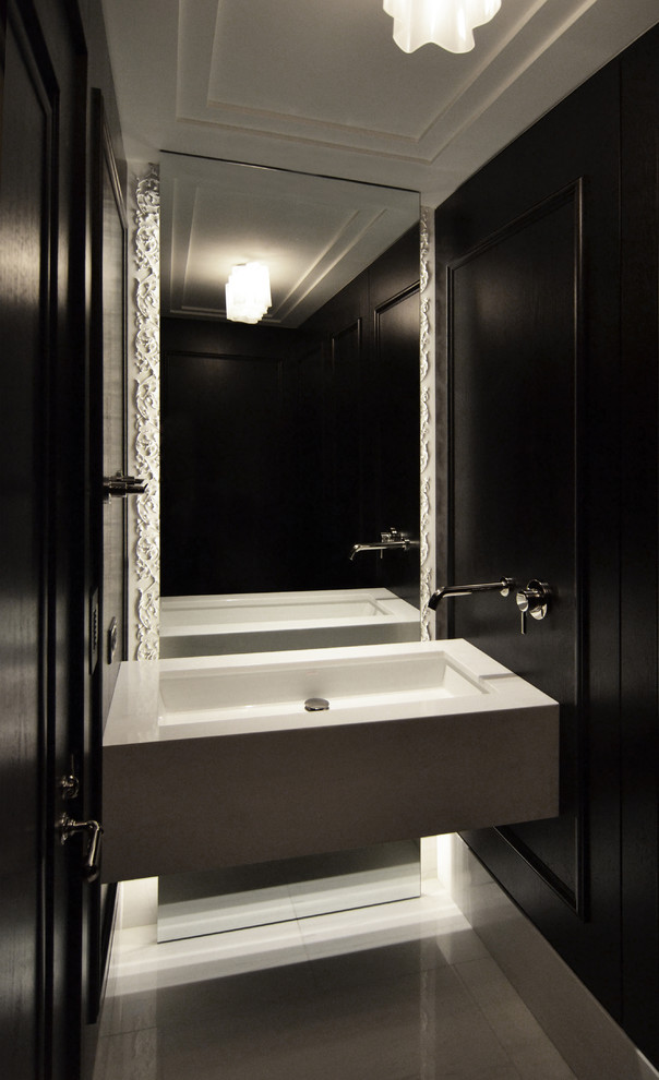 floor to ceiling mirror faucet lamp on the ceiling sink contemporary bathroom