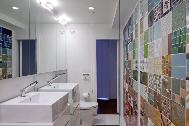 floor to ceiling mirror faucet sink toilet modern lamps wall tile patterns modern bathroom