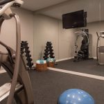 Floor To Ceiling Mirror Gym Ball Wall Tv Contemporary Home Gym