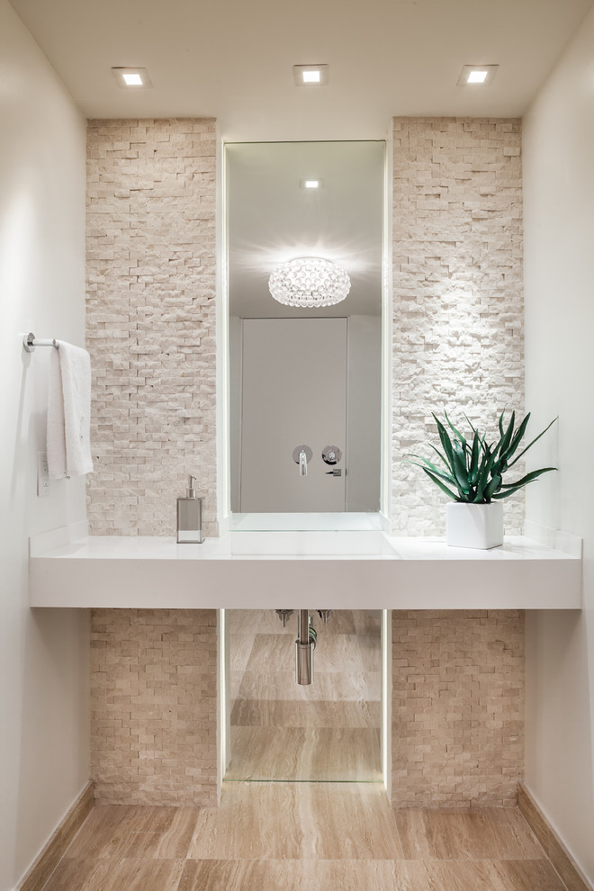 floor to ceiling mirror towel rack decorative plant ceiling lights contemporary powder room