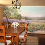 French Provincial Dining Room Furniture Simple Dining Room Hand Wall Mural Oak Cabinet Cream Rug Wooden Floor