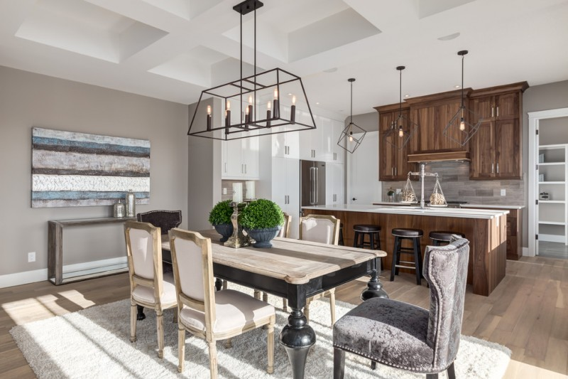 french provincial dining room furniture transitional dining room block chandelier gray and cream dining chairs black wooden dining table