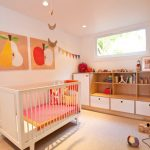 Fruit Wall Art Wooden Fruit Cream Rug Baby Crib Open Wooden Cabinets With White Doors White Wall Ceiling