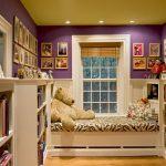 Fun Reading Nook Furniture Zebra Bed Purple Wall Bookself Wood Flooring Reading Lamp