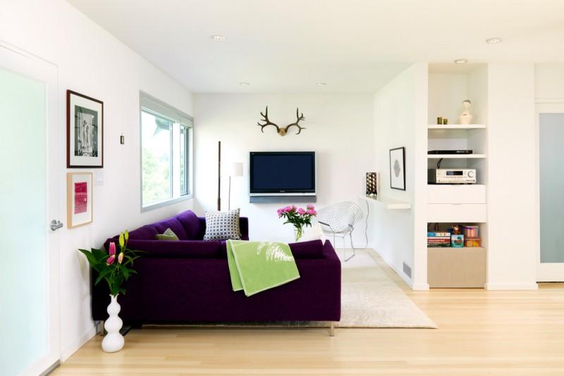furniture for a small living room light coloured floor purple sofa wall decors window tv shelves flowers pillows scandinavian style