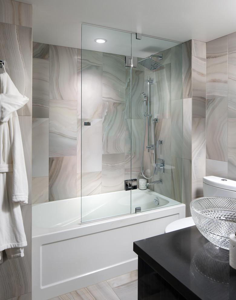 galss doors for bathtub shower ceiling lamp vanities sink towel rack marble tile contemporary style