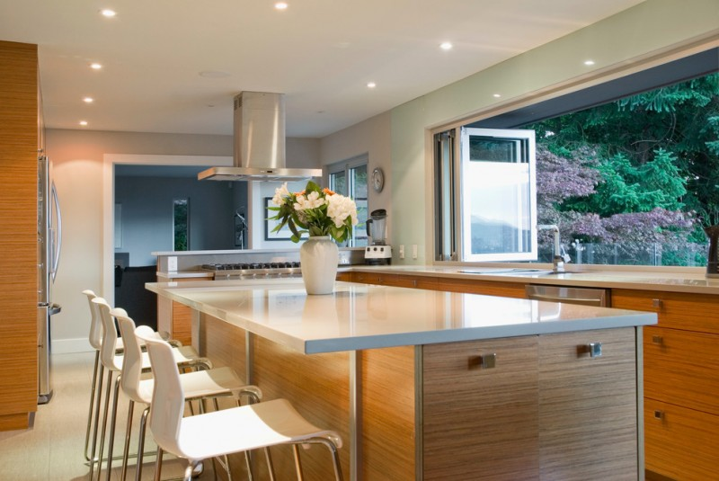 garden window for kitchen light coloured floor island flowers chairs ceiling lights stove fridge contemporary style room