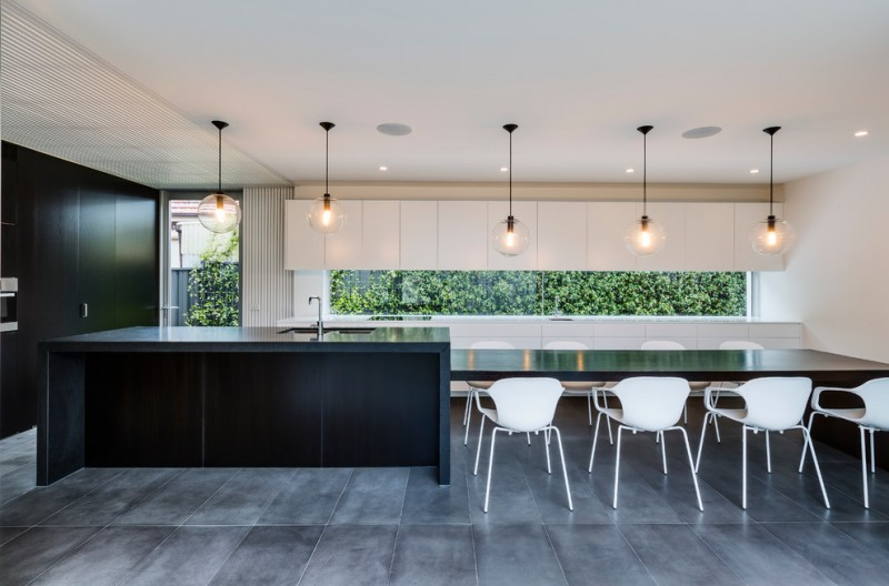 garden window for kitchen white modern chairs hanging lamps ceiling lights faucet sink big floor tile big black cabinet contemporary room