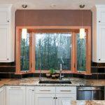 Garden Windows For Kitchen Flat Panel Cabinets Undermount Sink Porcelain Backsplash Granite Countertops Pendants Ceiling Lights Traditional Design