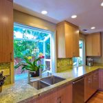 Garden Windows For Kitchen Marble Countertop Recessed Panel Cabinets Ceiling Lights Appliances Double Bowl Sink Faucets Hardwood Floors Tropical Style