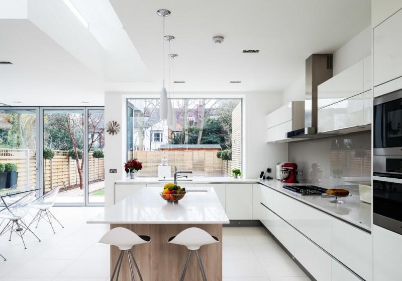 garden windows for kitchen undermount sink flat panel cabinets stools quartzine countertops modern pendants island glass sheet backsplash double glass doors contemporary design