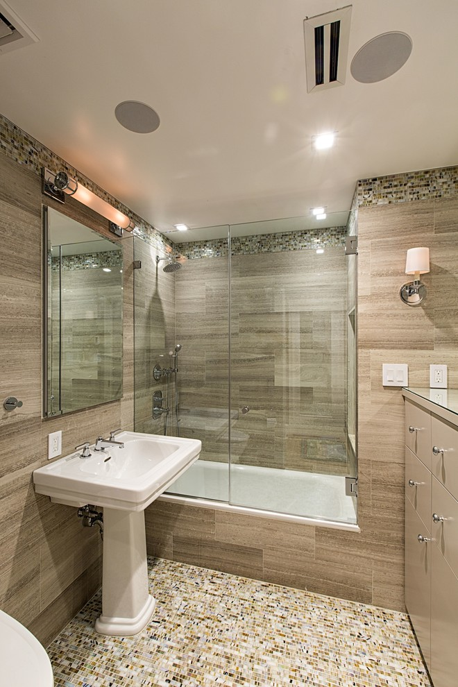glass doors for bathtub pedestal sink mosaic tiles flat cabinets vanities shower wall lamps towel rack faucets contemporary design