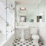 Glass Doors For Bathtub Pedestal Sink Toilet Hanging Towel Rack Mirror Wall Lamps Shower Faucets Marble Backsplash Ceramic Tiles Traditionals Design