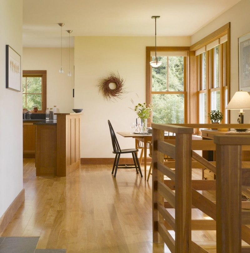 good colors for kitchens cabinets hardwood floors dining table tall back chairs lamps wall framed painting decorations wood stairs pendants light fixtures farmhouse style