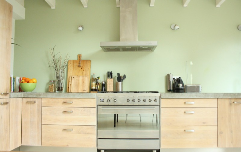 good colors for kitchens flat panel cabinets stainless steel appliances light fixtures bowl of fruits glass vase green walls industrial design