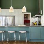 good colors for kitchens peninsula stoneslab backsplash shaker cabinets island white backsplash modern pendants bar stools undermount sink wall painting transitional design