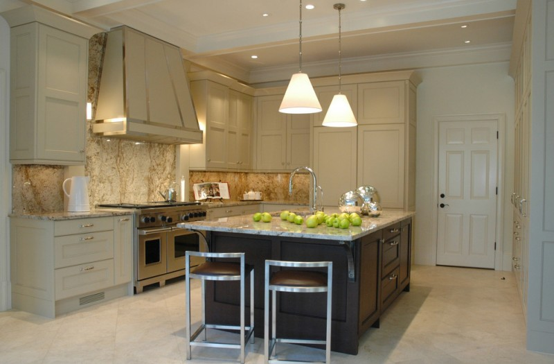 good colors for kitchens recessed panel cabinets stoneslab backsplash marble countertops island white pendants undermount sink chairs stainless steel appliances transitional design