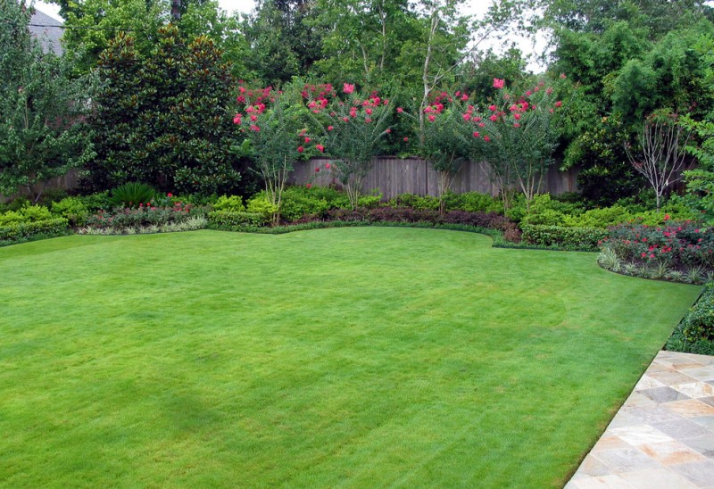 grass green concrete tile floors red flowers bushes wooden backyard wall