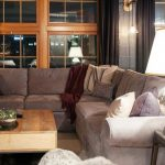 Gray Sectional Pottery Barn Pearce Sofa Table Lamp Rustic Storage Wooden Coffee Table Glass Cupboard Throw Pillows Rug