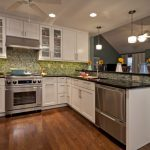 Green Glass Tile Backsplash Half Wall Cabinet Wooden Tile Counter Green Glass Backsplash Trendy U Shaped Eat In Kitchen Designs Undermount Sink