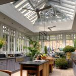 greenhouse windows for kitchen chandelier kitchen island ceiling fans plants wall cabinet glass roof