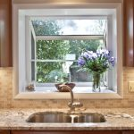 greenhouse windows for kitchen marble countertop flat panel cabinets single hole sink faucet ceiling light subway tiles backsplash traditional design