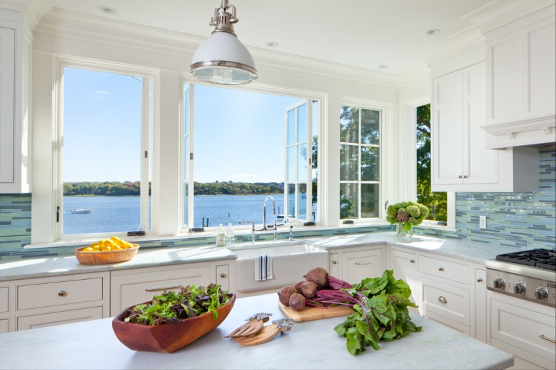 greenhouse windows for kitchen wall cabinets backsplash stove faucet sink kitchen island pendant light beach style room