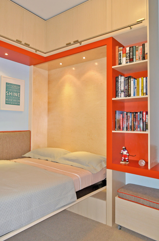 guest bed for small spaces bookshelves books lights lamps contemporary kids room