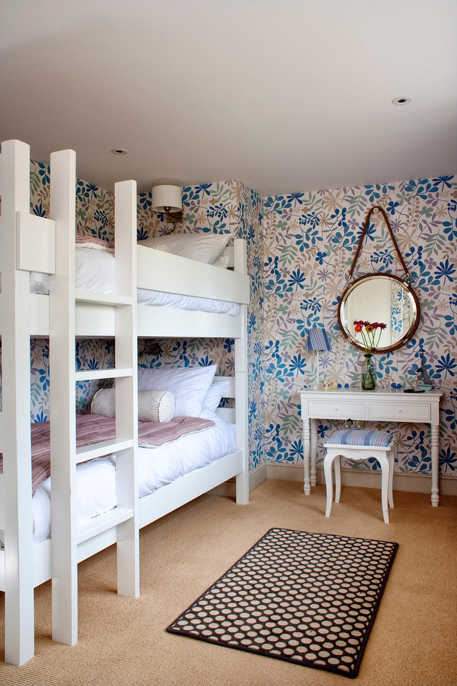 guest beds for small spaces bunk bed ladder mirror table stool pillows lamps flowers wall patterns beach style bedroom