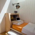 Guest Beds For Small Spaces Wood Floor Pillows Lamp Storage Shelf Scandinavian Bedroom