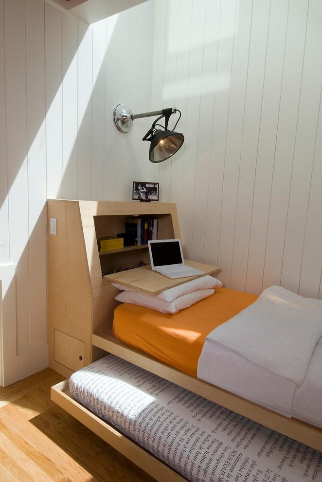 guest bed for small spaces wood floor pillows lamp storage shelf scandinavian bedroom