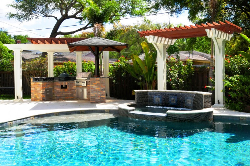 hot tub waterfall outdoor grill areas craftsman tampa bay pool stone tub