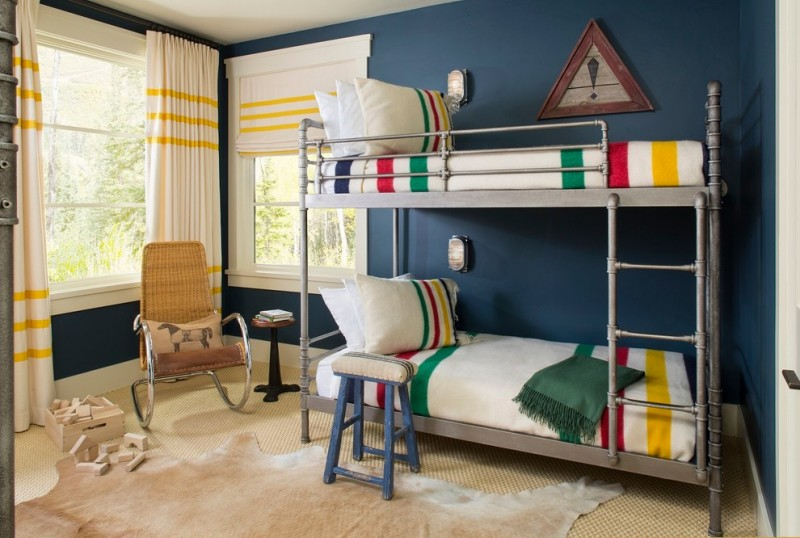 hudson park bedding big windows curtains beds ladder carpet rustic design stool chair pillows table wall lamps