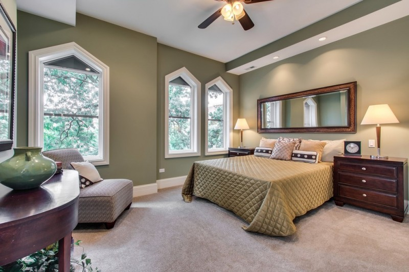 hudson park bedding ceiling fan table drawers night lamp windows vase mirror bed couch transitional design