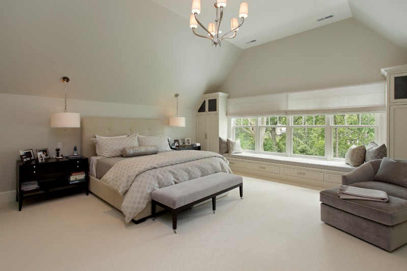 hudson park bedding chaise couch bed drawers storage throw pillows built in cabinets hanging lamps bookshelves traditional design