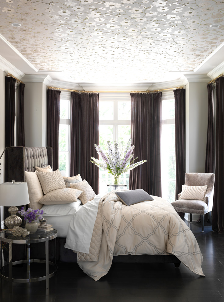 hudson park bedding dark coloured hardwood floor bed pillows sheet windows curtains contemporary style table flowers lamp floral patterns