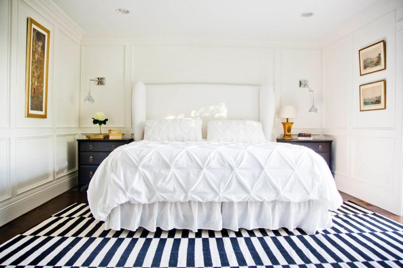 hudson park bedding pillows sheet carpet wooden floor wall decoration hanging lamps drawers headboard transitional design