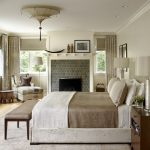 Hudson Park Bedding Windows Eclectic Bedroom Lamps Pillows Fireplace Bench Chair Pillow Curtains