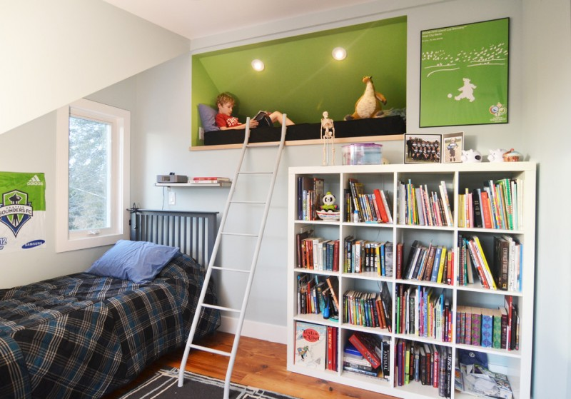 ikea expedit bookcase white cookcase ladder reading attic kids bed grey rug