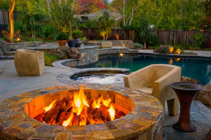inground fire pit contemporary pool cheap backyard landscaping rock landscape hot tub deck