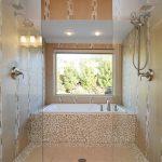 Jacuzzi Tub Shower Combo Cool Walls Window Faucet Glass Ceiling Lights Modern Bathroom