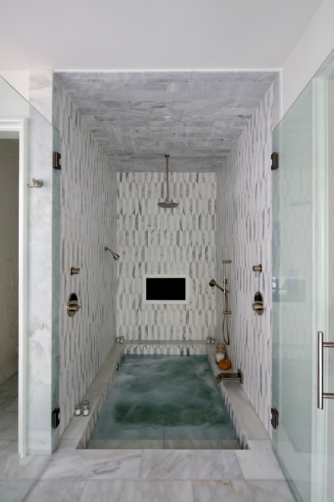 jacuzzi tub shower combo faucet cool walls glass door contemporary bathroom