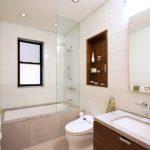 Jacuzzi Tub Shower Combo Towels Rack Faucets Mirror Wall Storage Shelves Window Ceiling Lights Bathtub Modern Bathroom