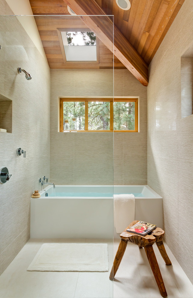 jacuzzi tub shower combo unique stool faucet wall storage window wooden ceiling modern bathroom