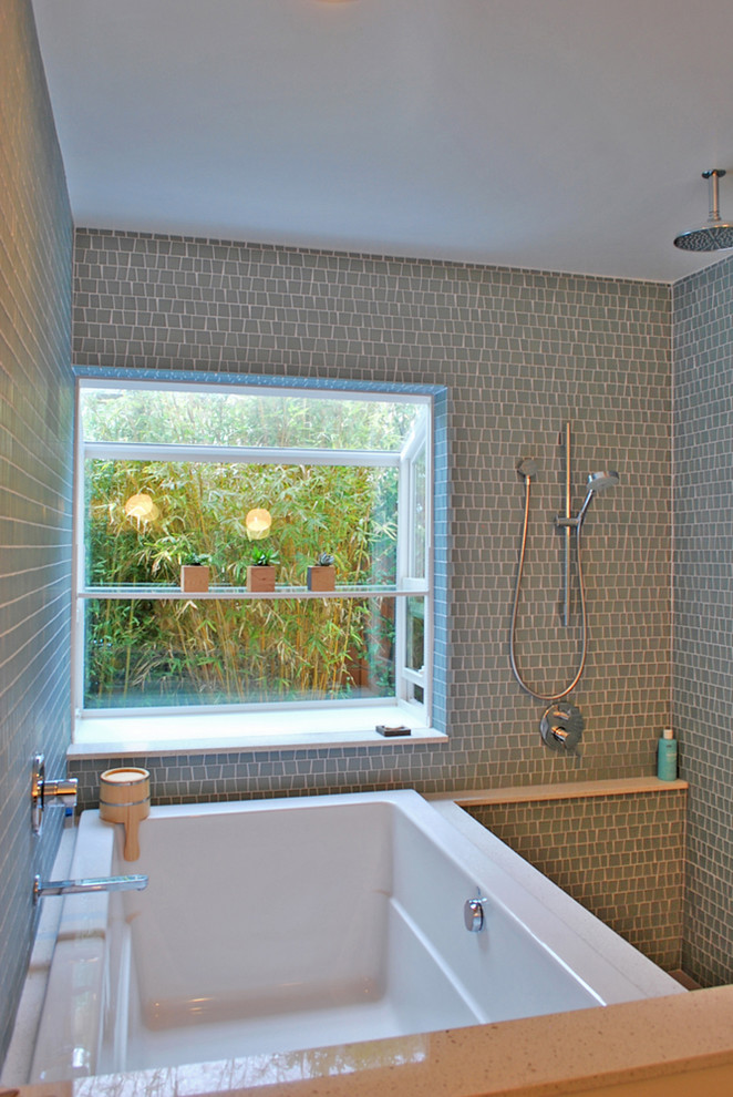 jacuzzi tub shower combo window interesting walls decorative plants shelves faucet watter dipper contemporary bathroom