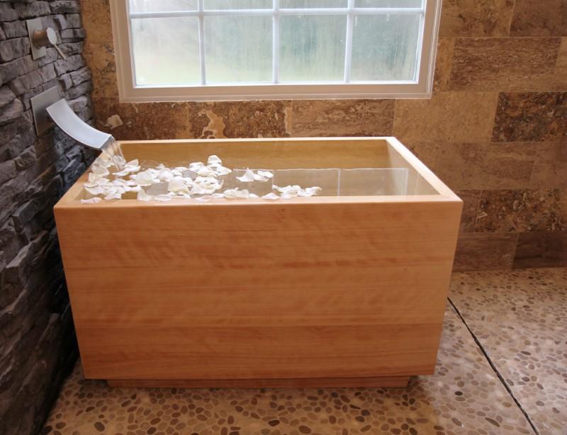 japanese soaking tub small sicnature hardware faucet rectangular tub large window ceramic floor stone wall